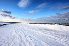 Winter coastline of Baltic sea near Riga, Latvia Royalty Free Stock Images