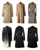 Winter coats. Six woman winter coats on white background Royalty Free Stock Photos