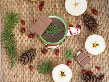 Winter Coffee in a Christmas Mug with Chocolate Stock Images