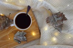 Winter coffee in house. Cup of coffee on bed with warm plaid, decorated leafs and lights. Copy space. royalty free stock photo
