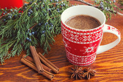 Winter coffee. In red cup Stock Photo