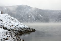 Free Winter Cold Foggy Dawn On The Yenisei River Stock Images - 133662924