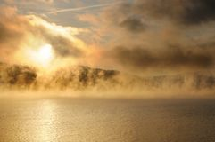 Free Winter Cold Foggy Dawn On The Yenisei River Royalty Free Stock Image - 133663056