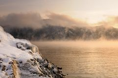 Free Winter Cold Foggy Dawn On The Yenisei River Royalty Free Stock Photography - 133663057
