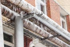 Winter, cold. Heating pipes, could not stand the frosts and burst.  royalty free stock images