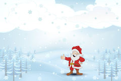 Winter cold landscape with trees and Santa Claus at snowfall vector Royalty Free Stock Photos