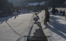 Winter cold morning near Palcmanska Masa reservoir Stock Photo
