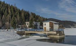 Winter cold morning near Palcmanska Masa reservoir Stock Photos