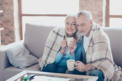 It is almost winter, so cold outside, but so sweet time we spend. It is almost winter, so cold oute, but so sweet time we spend together! Happy cheerful peaceful Stock Photography