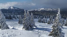 Winter on the Serbian mountain Kopaonik. Winter cold snow mountains ski nature landscape wallpaper kopaonik serbian royalty free stock photography
