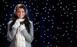 Winter: Cold Winter Girl with Earmuffs Stock Image