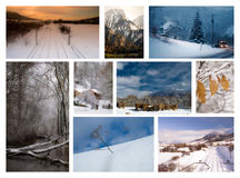 Winter collage europe. Collage from europe mountains landscapes in winter Stock Photography