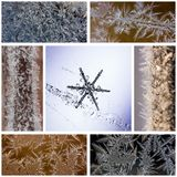 Winter collage of macro photos of snowflakes and frosty patterns on glass and frost Stock Image
