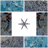 Winter collage of macro photos of snowflakes on a white background and frosty patterns on glass. Photos all mine stock photography
