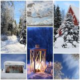 Winter collage with snow, latern, forest - winter season Stock Photography
