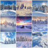 Winter collage with 9 square Christmas landscapes. Carpathian region, Ukraine, Europe Royalty Free Stock Images