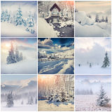 Winter collage with 9 square Christmas landscapes. Stock Photos
