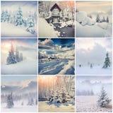 Winter collage with 9 square Christmas landscapes. Carpathian region, Ukraine, Europe Stock Photos