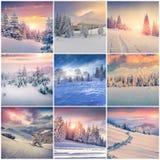 Winter collage with 9 square Christmas landscapes. Carpathian region, Ukraine, Europe Stock Image