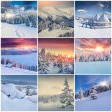 Winter collage with 9 square Christmas landscapes. Carpathian region, Ukraine, Europe Stock Images