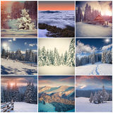Winter collage with 9 square Christmas landscapes. Royalty Free Stock Photography