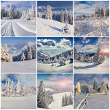 Winter collage with 9 square Christmas landscapes. Royalty Free Stock Image