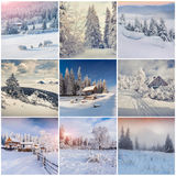 Winter collage with 9 square Christmas landscapes. Stock Photo