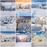 Winter collage with 9 square Christmas landscapes. Carpathian region, Ukraine, Europe Stock Photography