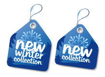 Winter collection blue labels set. Stock Photos