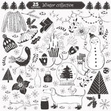 Winter collection. Vector winter collection on white background. 25 doodles elements for greeting cards, postcards, banners, wallpapers. Design set for winter Stock Image