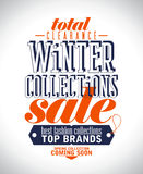 Winter collections sale poster. Winter collections sale poster in retro style stock illustration