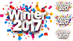 Winter 2017 color backgrounds set. Winter 2017 white backgrounds set with color confetti. Vector paper illustration stock illustration
