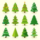 Winter colorful cartoon Christmas tree vector set. Tree christmas for holiday, green pine with garland illustration stock illustration