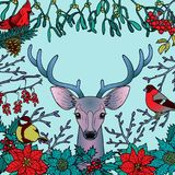 Winter Colorful Pattern with Deer and Birds Royalty Free Stock Images