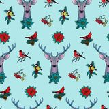 Winter Colorful Seamless Pattern with Deer and Birds Royalty Free Stock Image
