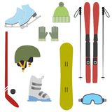 Winter colorful sports icons on white background. Set of winter sports equipment. Vector illustration Royalty Free Stock Images