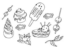 Winter coloring elements with tasty cakes vector illustration