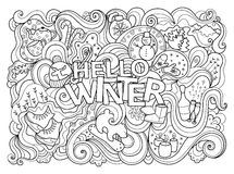 Winter coloring page Stock Image