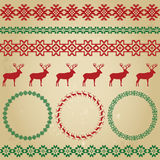 Winter colourful holiday set on beige grunge background Stock Images