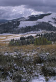 Winter Comes to Yellow Stone. After a late fall snowstorm snow dust the hills and valleys of Yellowstone National Park.  Winter is on its way Royalty Free Stock Photos