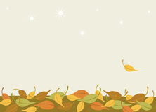 Winter is coming. Background with autumn leaves and first falling snow Stock Images