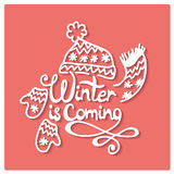 Winter is coming. Christmas frame. Stock Photo