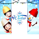 Winter Is Coming Greeting With Happy Kids and Snowman Vector Illustration Stock Images