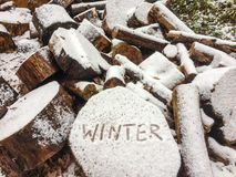 Winter is coming with handwriting.  royalty free stock images