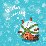 Winter is coming. Holiday card with cute cartoon deer Stock Photography