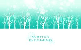 Winter is coming message, creative poster invitation card banner, snowflakes and stars scatter sparkle holiday season celebration stock illustration