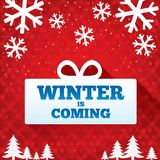 Winter is coming sale background. Christmas sale. Stock Photo