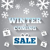 Winter is coming sale background. Merry Christmas. Stock Photo