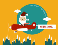 Winter is Coming. Santa Flying With Christmas Plane showing banner. flat character design. Royalty Free Stock Images