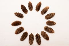 Winter composition, round frame made of pine cones on white background. Flat lay, top view. Copy space royalty free stock photography